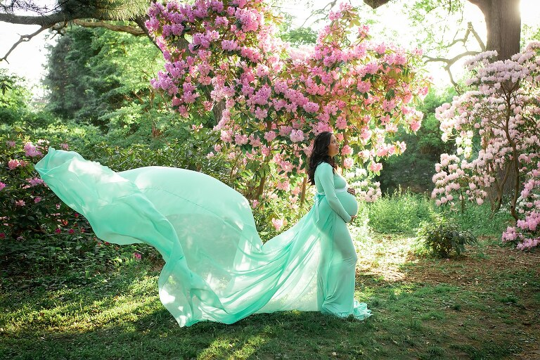 maternity photographer in rochester ny captures pregnant mom in a flowing gown in the flowers