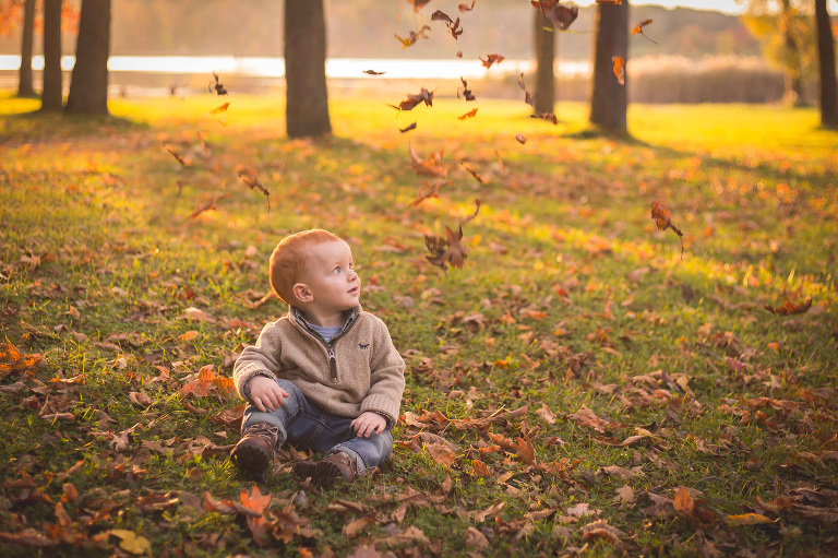rochester ny family photographer captures little boy in the leaves