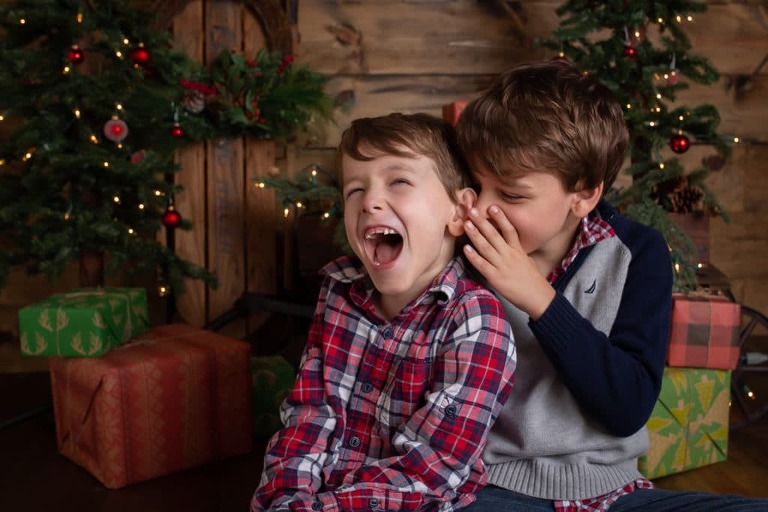 family photographer in rochester ny captures family christmas portraits during christmas mini sessions in her studio